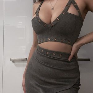 Oh Polly Grey Suede Two Piece Set